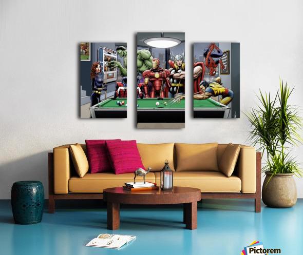 Afterhours: Marvel Superheroes Relax  Playing Pool featuring X-Men & Avengers, Wolverine, Spider-Man, Black Widow, Nightcrawler, Iron Man and Hulk Canvas print