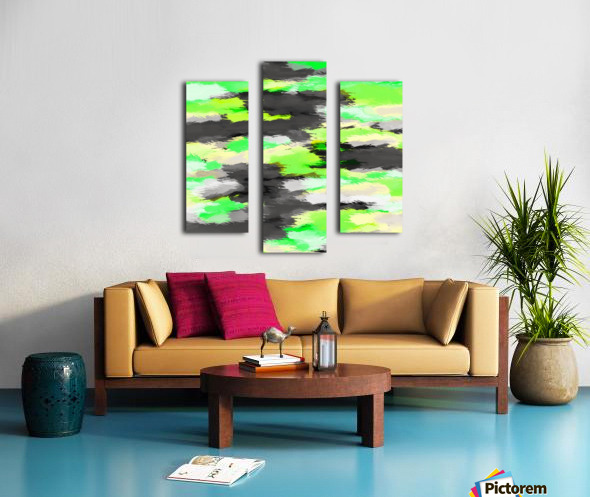 psychedelic camouflage splash painting abstract in green yellow and black Canvas print