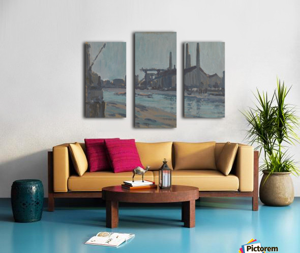 Landscape with industrial buildings by a river Canvas print