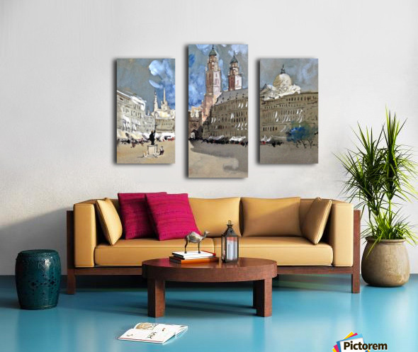 Great view of a large castle near market Canvas print