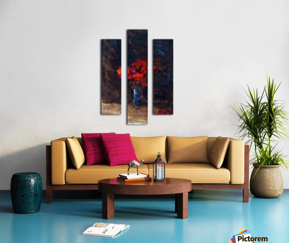 Red flowers in a blue vase Canvas print
