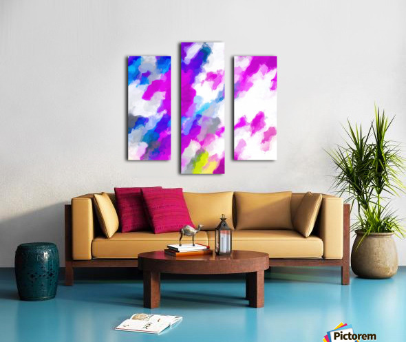 psychedelic painting texture abstract in pink purple blue yellow and white Canvas print