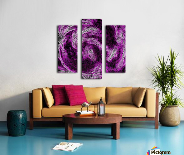 psychedelic geometric painting abstract in pink purple white and black Canvas print