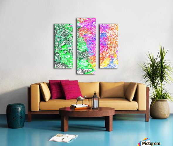 psychedelic splash painting abstract in pink purple green blue orange and yellow Canvas print