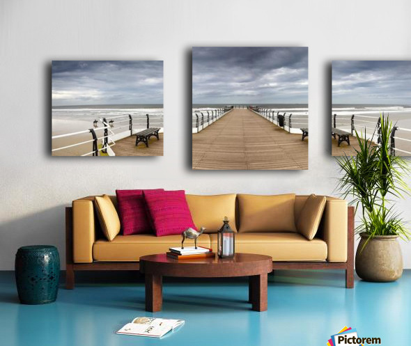 Dock With Benches, Saltburn, England Canvas print