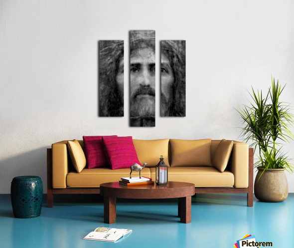 Christ face reconstruction black and white Canvas print