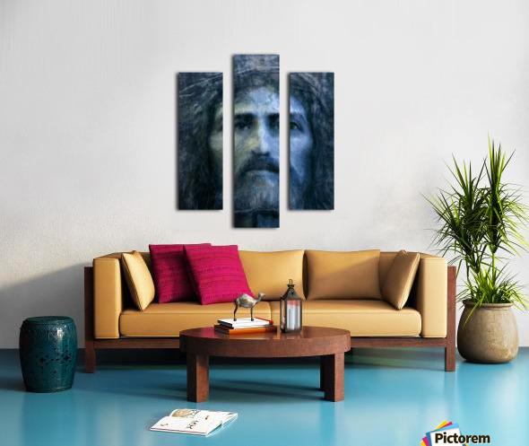 Christ face reconstruction blue Canvas print
