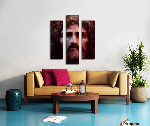 Christ face reconstruction claret Canvas print