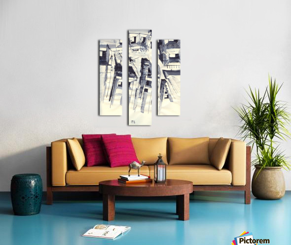 Architectural view in birdeye Indian ink Canvas print