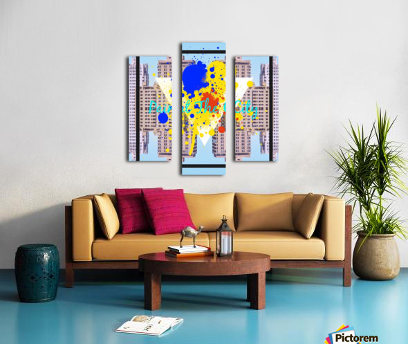 paint the city yellow blue and orange with buildings background Canvas print