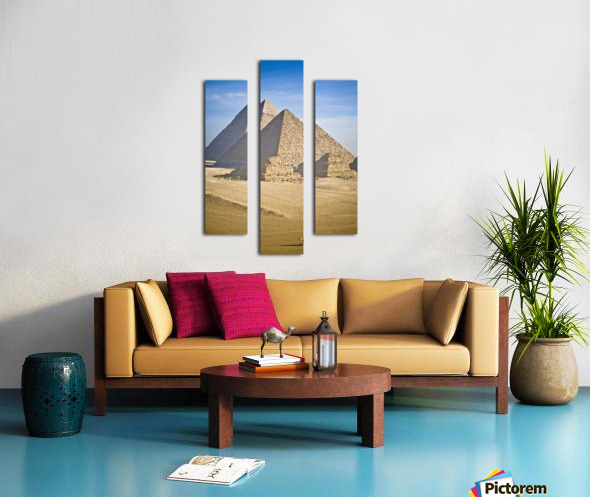 The Pyramids With Two Men On Camels Going By; Cairo,Egypt,Africa Canvas print