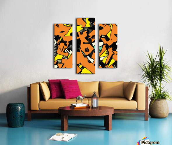 grunge geometric drawing and painting abstract in brown yellow and black Canvas print