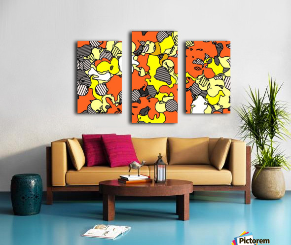 psychedelic drawing and painting abstract in orange and yellow Canvas print
