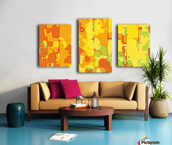graffiti drawing abstract pattern in yellow brown and blue Canvas print