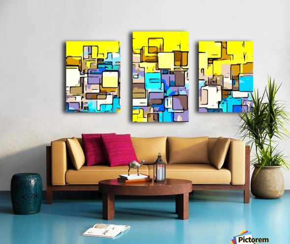 geometric graffiti square pattern abstract in yellow blue and brown Canvas print
