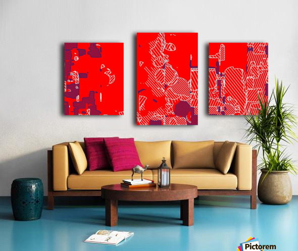 graffiti drawing and painting abstract in red and blue Canvas print