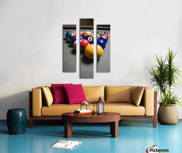 Pool Balls On A Billiard Table With The Eight Ball Facing Upwards Canvas print