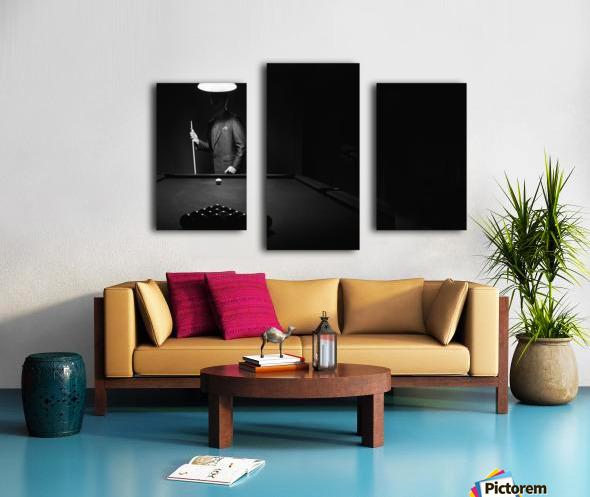 ; Mystery Pool Player Behind Rack Of Billiard Balls Canvas print