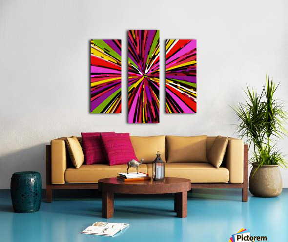 psychedelic geometric graffiti line pattern in pink purple yellow green red Canvas print