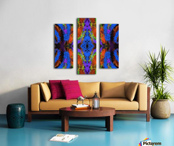 psychedelic graffiti geometric drawing abstract in blue purple orange yellow brown Canvas print