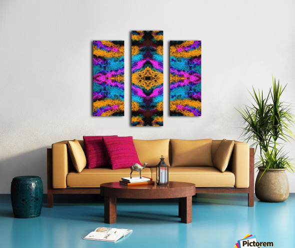 psychedelic graffiti geometric drawing abstract in pink orange blue Canvas print