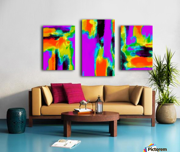 pink purple green orange black yellow and blue painting abstract background Canvas print