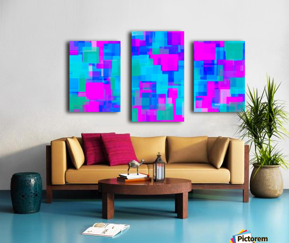 pink blue and green geometric square abstract background Canvas print