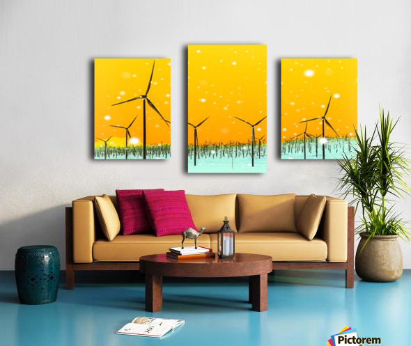 wind turbine at the desert with snow in winter Canvas print