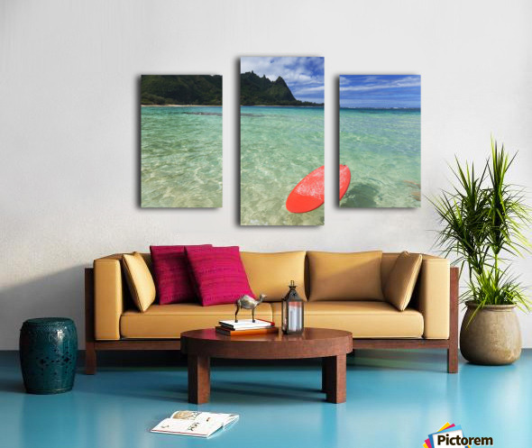 Hawaii, Kauai, Haena Beach Tunnels Beach, Red Surfboard Floating In Shallow Ocean. Canvas print