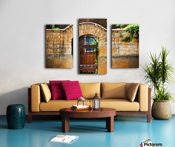 New Mexican Doors, New Mexico, Details Of Old Stone Doorway And Garden. Canvas print