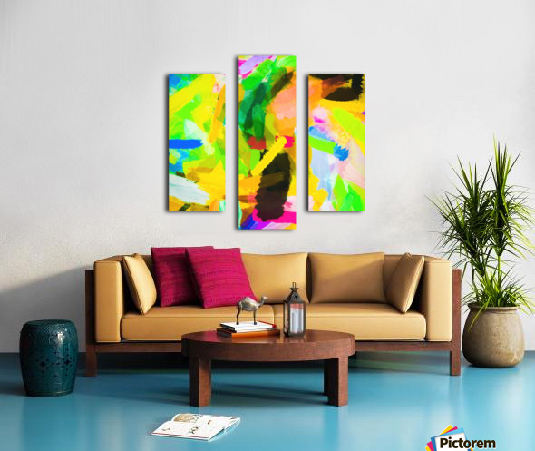 psychedelic splash painting texture abstract in green yellow pink blue Canvas print