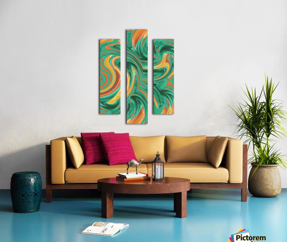 psychedelic graffiti wave pattern painting abstract in green brown yellow Canvas print