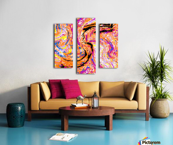 splash painting abstract in pink orange yellow blue and black Canvas print