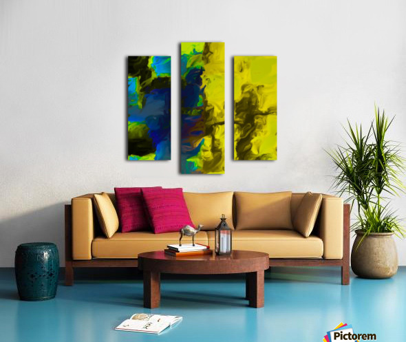 psychedelic splash painting abstract in yellow blue and black Canvas print