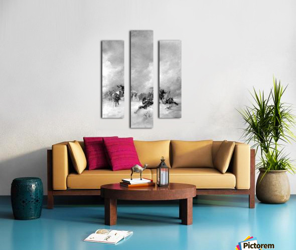 A pack of hunters in winter Canvas print
