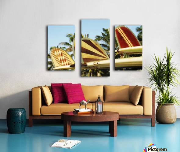 Hawaii, Oahu, Colorful Hawaiian Design Surfboards Fins. Canvas print
