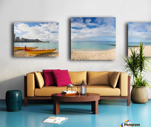 Hawaii, Oahu, Waikiki, Outrigger Canoes On The Beach With A Rainbow And Diamond Head In The Background. Canvas print