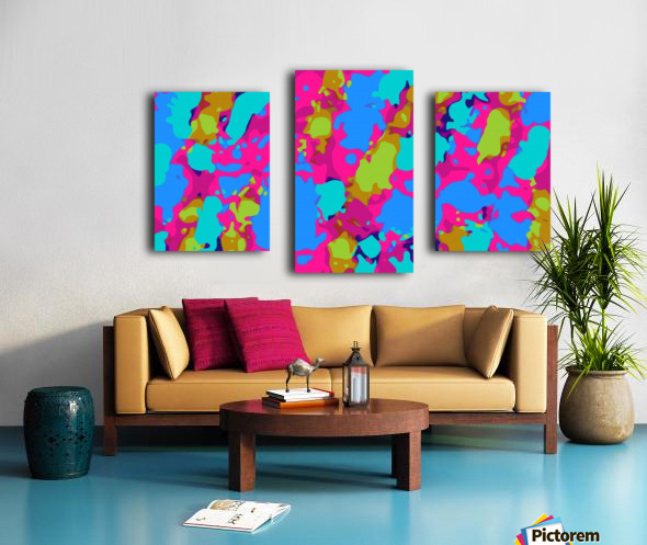 splash graffiti painting abstract in pink blue green Canvas print