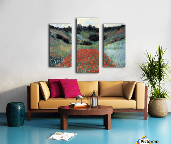 Poppy field in Giverny by Monet Canvas print