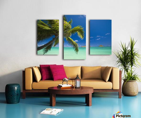 USA, Hawaii, Oahu, Mokulua island in background; Lanikai, Palm tree over Pacific Ocean Canvas print