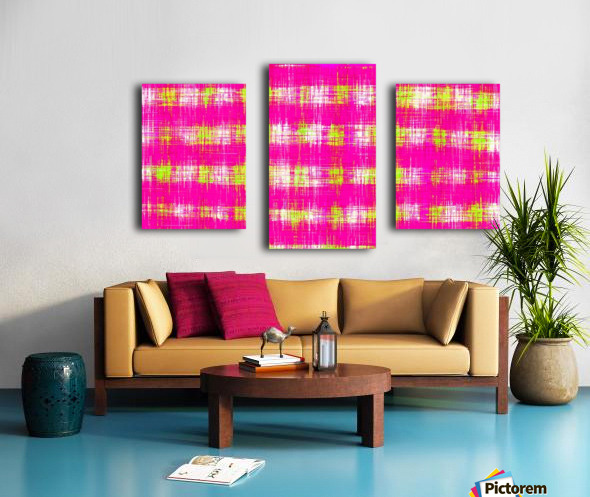 plaid pattern graffiti painting abstract in pink and yellow Canvas print