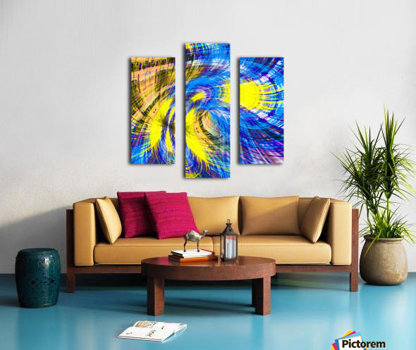 geometric psychedelic splash abstract pattern in blue and yellow Canvas print