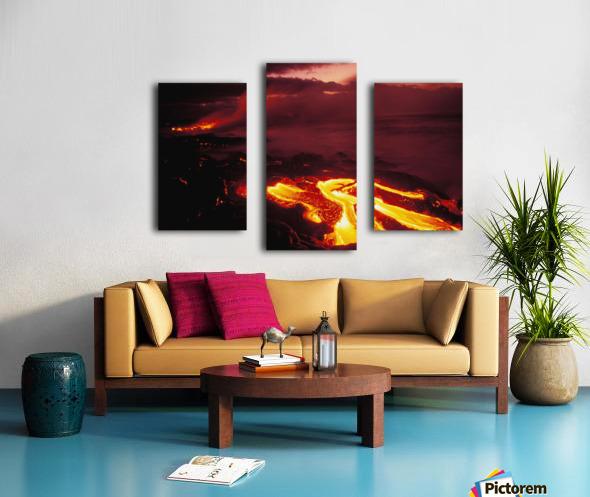 Hawaii, Big Island, Hawaii Volcanoes National Park, Lava Flow Glows In Early Dawn Canvas print