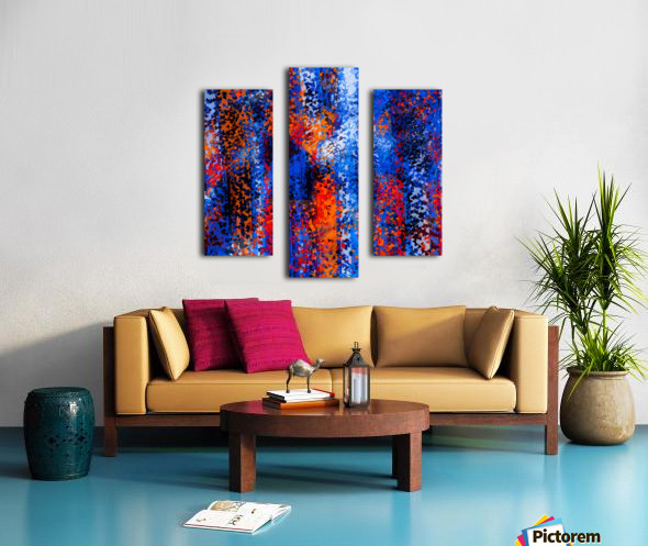 psychedelic geometric polygon shape pattern abstract in blue red orange Canvas print