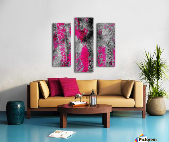 vintage psychedelic painting texture abstract in pink and black with noise and grain Canvas print