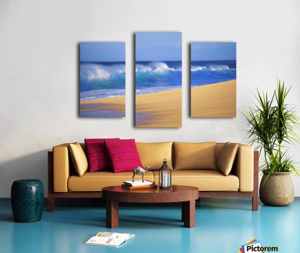 Shorebreak Waves Along Sandy Beach, Blue Sky Canvas print