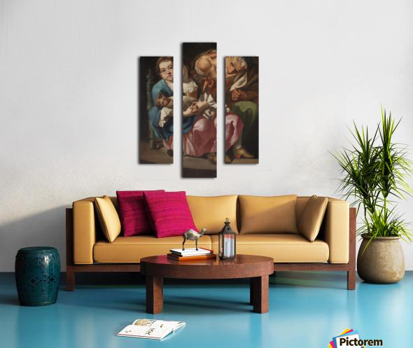 An old lady with little girl and kitty Canvas print