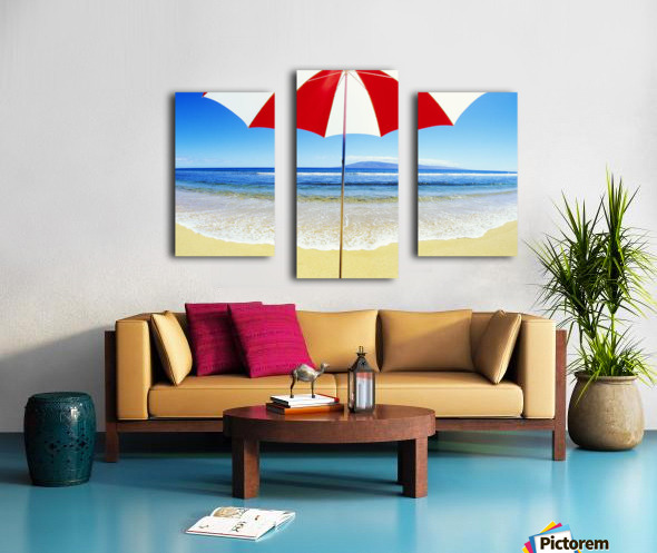 Red And White Umbrella On The Beach, Blue Sky And Ocean Canvas print