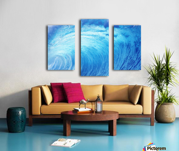 Hawaii, Oahu, North Shore, Curling Wave At World Famous Pipeline. Canvas print