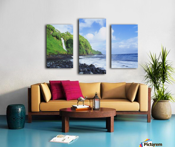 Hawaii, Maui, Hana, Pokupupu Point And Waikani Falls Going Into Ocean Canvas print